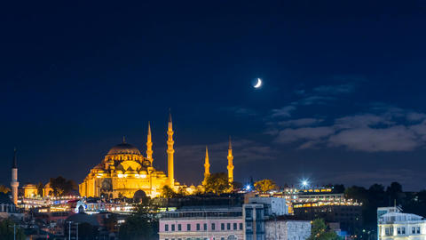 Timelapse of famous Suleymaniye mosque in Istanbul at night Footage