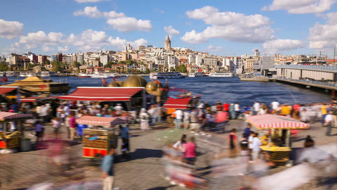 Timelapse of people walking around famoust tourist place in Istanbul with Galata Footage