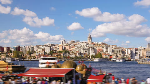 Pan shot Timelapse of people walking around famoust tourist place in Istanbul Footage