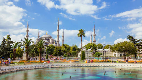 Timelapse of The Blue Mosque or Sultanahmet outdoors in Istanbul city in Turkey Footage