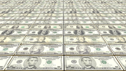 HD Loopable Background with printing dollar bill money Animation