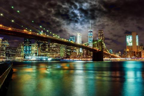 Brooklyn Bridge and Manhattan Skyline Night, New York City Photo