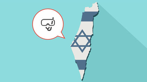 Animation of a long shadow Israel map with its flag and a comic balloon Animación