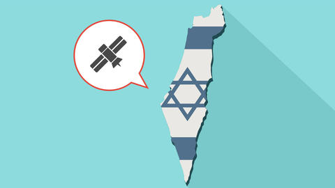Animation of a long shadow Israel map with its flag and a comic balloon Image