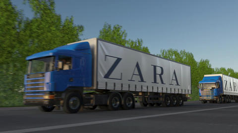 Freight semi trucks with Zara logo driving along forest road, seamless loop Footage