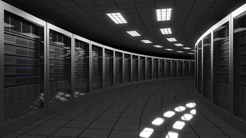 Modern big data center servers. 3D rendering Foto