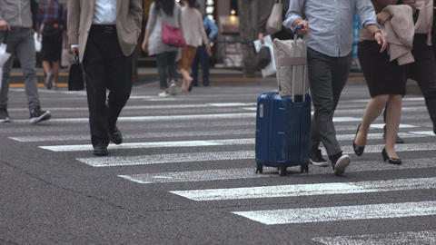 People walking on the crosswalk (Slow Motion Video) Ginza & Yurakucho in Summer 영상물