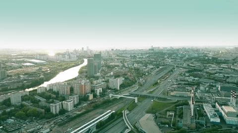 Aerial shot of Moscow residential and industrial areas in the evening, Russia Fotografía