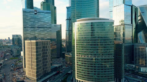 Office skyscrapers and traffic jam in a modern financial district in the rush Footage