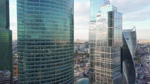 Reflective office skyscraper details in a modern business district Footage