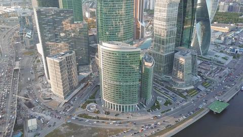 Aerial shot of reflective office skyscrapers and traffic jam in a modern Fotografía