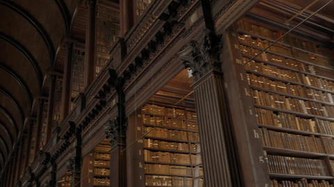 Panorama of Dublin Trinity College Library Long Room Footage
