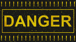 Decorative black and yellow video with text danger Animation