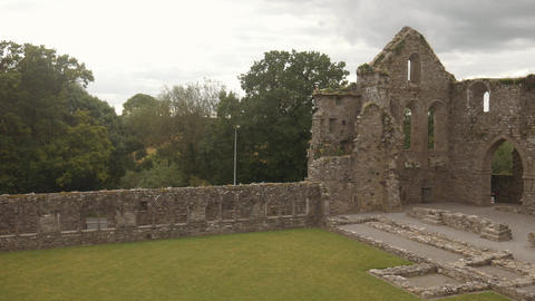 Ruined cloister of Jerpoint cistercian abbey in Ireland, panorama Footage