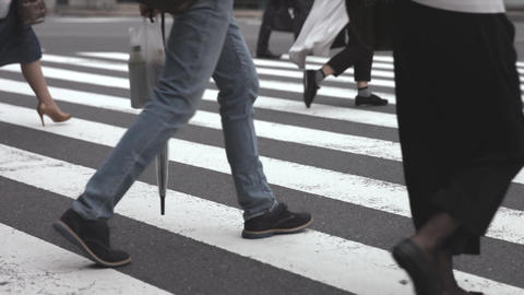 People walking on the crosswalk (Slow Motion Video) Shinbashi in Summer ビデオ