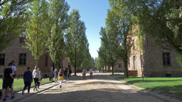 Buildingds and visitors in Auschwitz I Footage