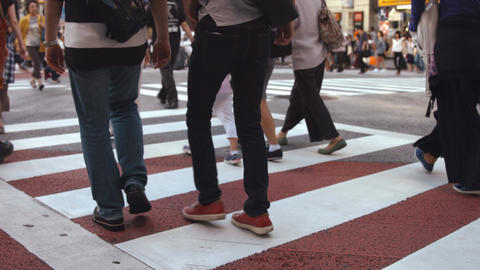 People walking on the crosswalk (Slow Motion Video) Shibuya in Summer 영상물