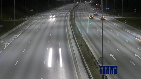 Long Exposure Time Lapse of Western Bypass Night Traffic in Vilnius, Lithuania Footage