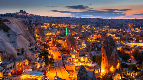 Zoom out Timelapse view of Goreme village in Cappadocia at night in Turkey Footage