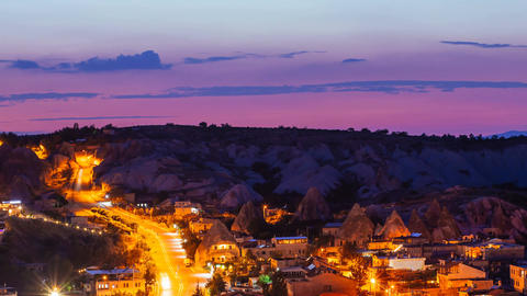Zoom out Timelapse view of Goreme village with beautiful sky in Cappadocia at Footage