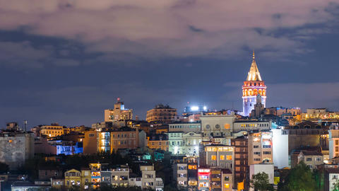 Pan shot timelapse of beautiful Istanbul cityscape with Galata Tower and Footage