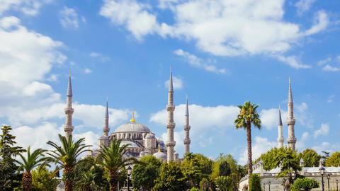 Pan shot timelapse of The Blue Mosque or Sultanahmet outdoors in Istanbul city Footage