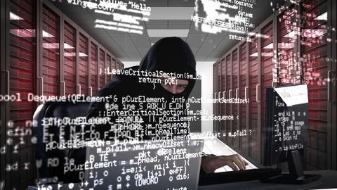 Burglar hacking into laptop Footage