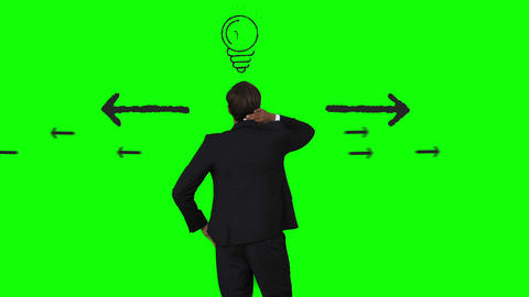 Businessman having an idea in front of green interface Animation