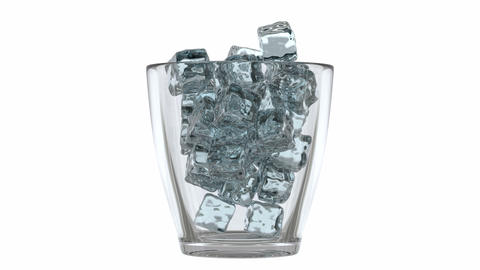 Glass filling with ice cubes Footage