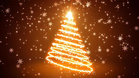 Glowing Light Streaks Christmas Tree Animation