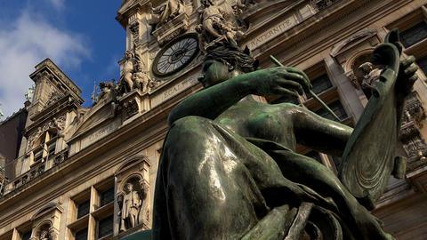 Hotel de Ville, the city hall of Paris. France Footage
