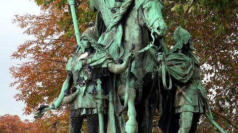 Monument at the Notre Dame Cathedral de Paris. France Footage