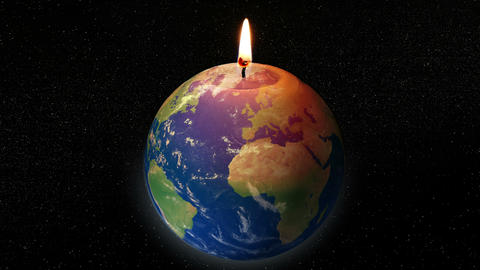 global warming earth candle 4k 11781 Animation