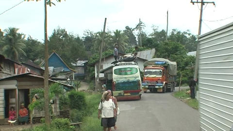 Full loaded truck in village Live Action
