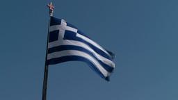 Greece the Aegean Sea Kos 003 Greek national flag against blue sky Footage