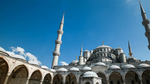 Zoom out Timelapse of The Blue Mosque or Sultanahmet outdoors in Istanbul city Footage