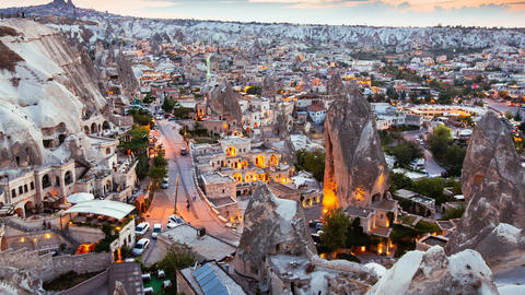 Zoom in Timelapse view of Goreme village in Cappadocia at sunset time in Turkey Footage