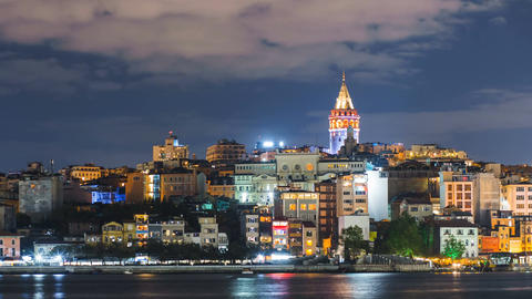 Istanbul cityscape with Galata Tower and floating tourist boats in Bosphorus Footage