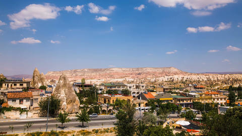 Timelapse view of famous Goreme village in Cappadocia at day time in Turkey Footage