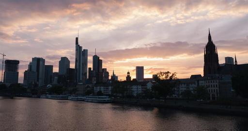 Frankfurt skyline sunset time-lapse Footage