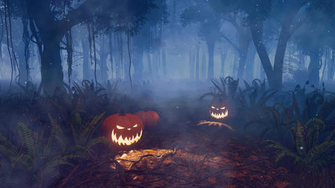 Halloween pumpkins in magical night forest Animation