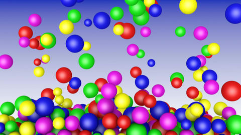 Colored balls fall down Footage
