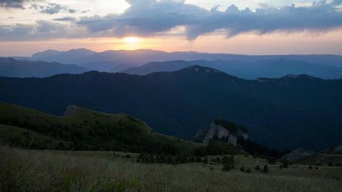 Caucasus Mountains at sunset Footage