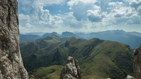 Caucasus Mountains, with views of the mountains Big Thach Footage