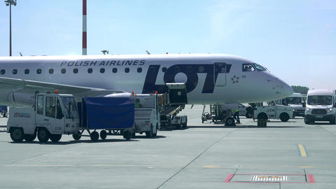 WARSAW, POLAND - MAY, 18, 2017. Baggage loading to LOT airliner at the airport Footage