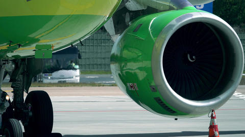 Operating turbine engine of an aircraft at the airport Footage