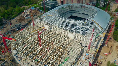 Football stadium construction site Footage