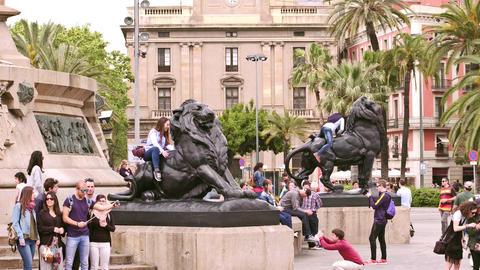 BARCELONA, SPAIN - APRIL, 15, 2017. Tourists making photos near Columbus Live Action
