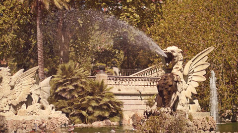 BARCELONA, SPAIN - APRIL, 15, 2017. Fantasy creature monument and fountain in Footage