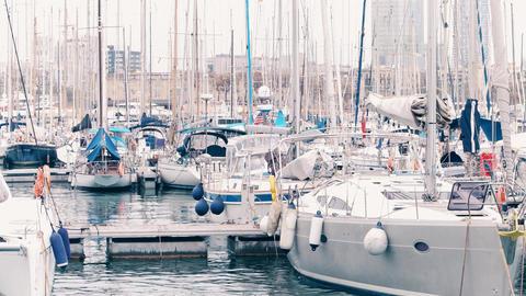 BARCELONA, SPAIN - APRIL, 15, 2017. Moored swaying sailing catamaran and Footage
